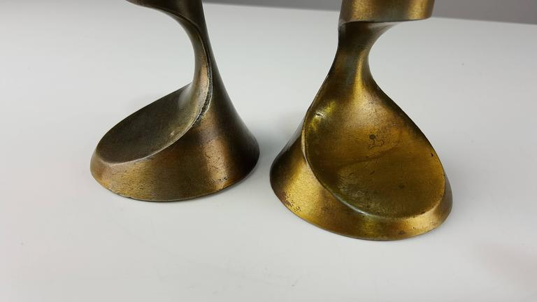 Sculptural Brass Candleholders Attributed to Ben Seibel, 1950s 5