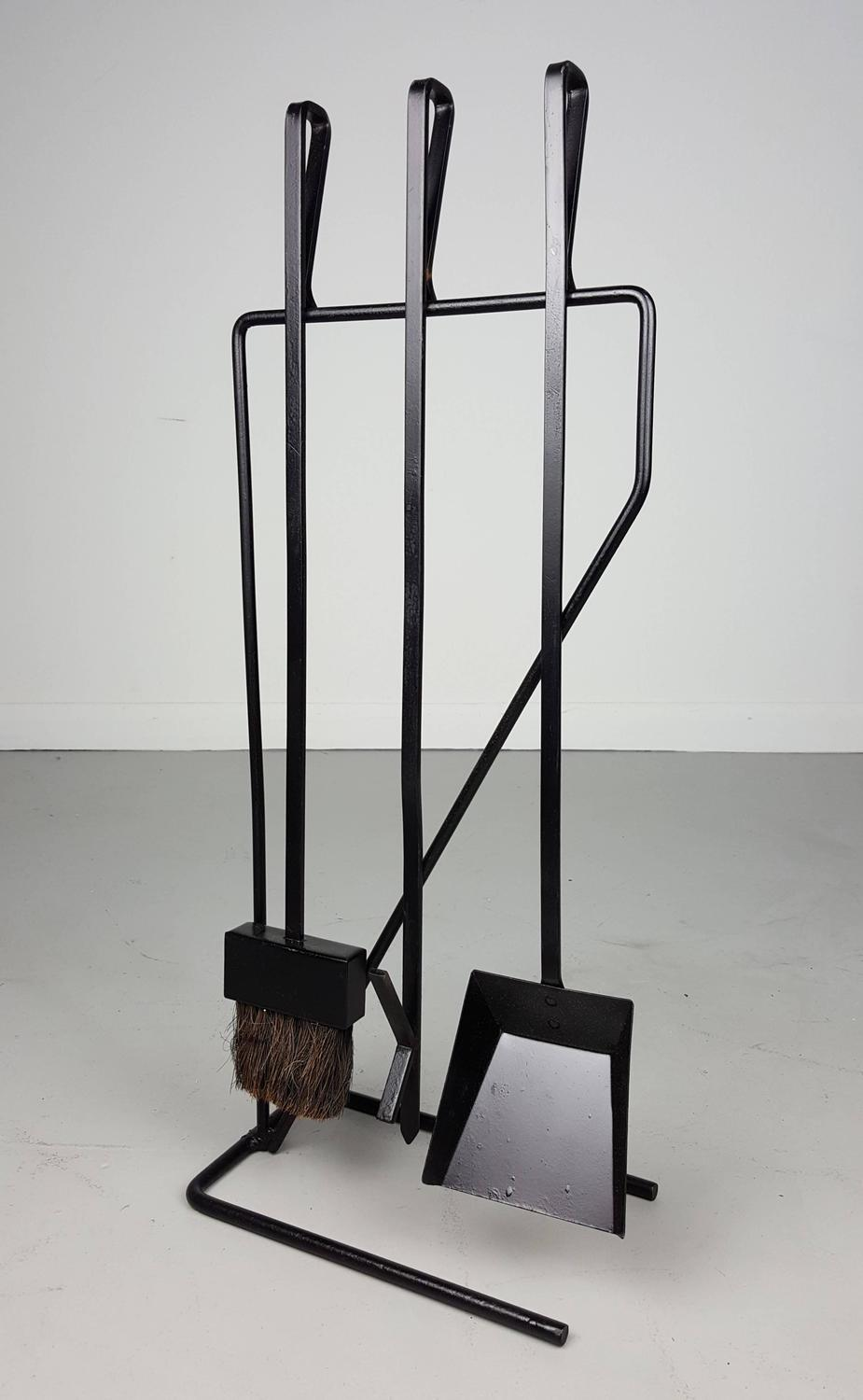 Minimal Modernist Wrought Iron Fireplace Tools After George Nelson At 1stdibs