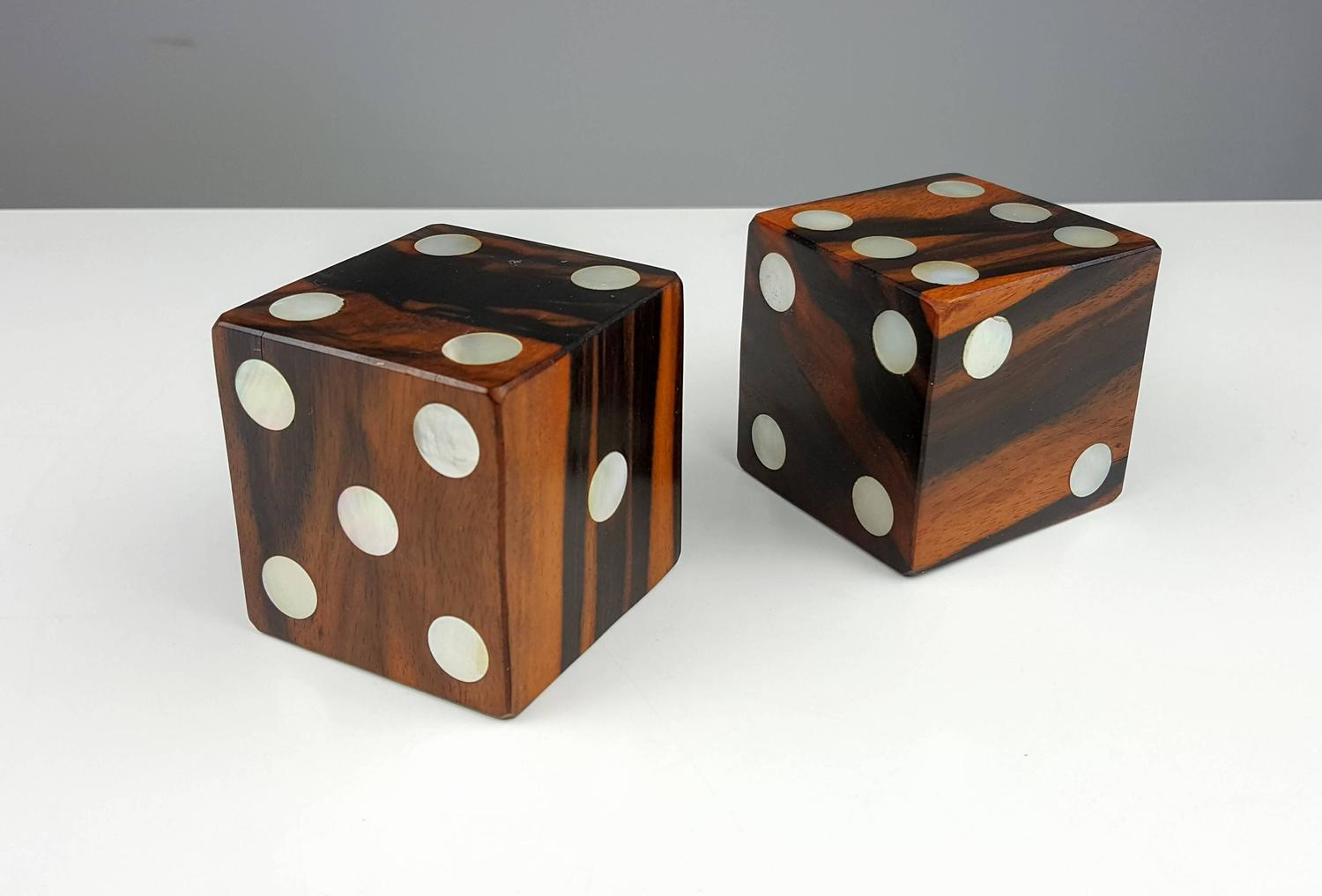 Very Large Solid Exotic Wood Dice With Inlaid Mother Of Pearl At 1stdibs
