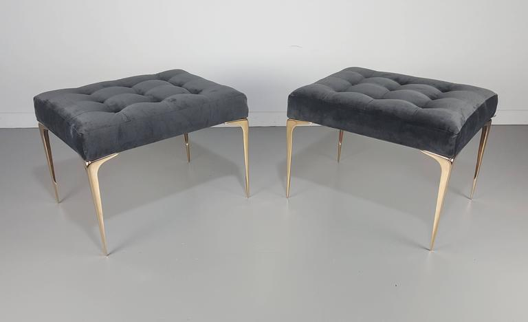 Pair Of Italian Modern Ottomans Or Benches With Solid
