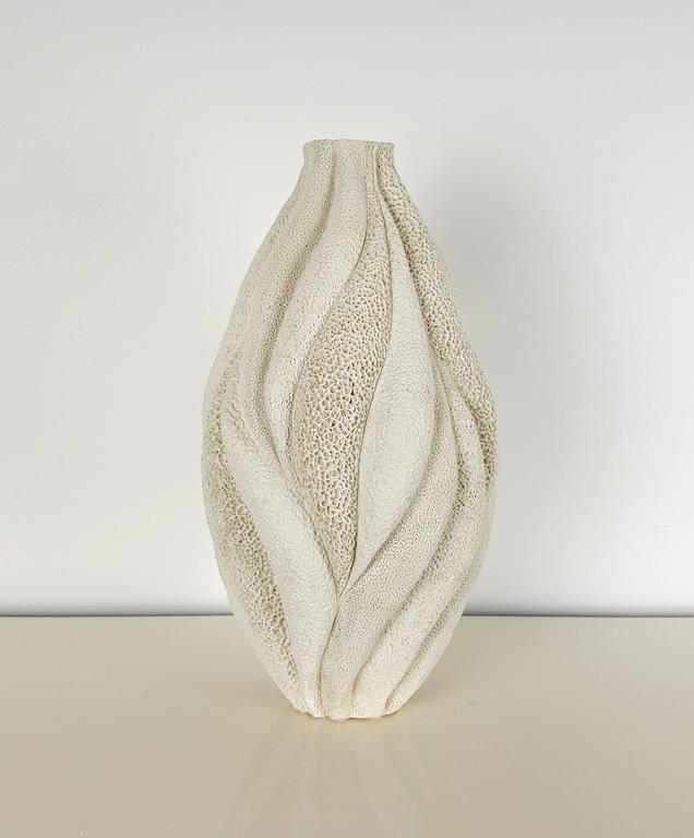 Creamy White Tall Coastal Collage Vessel By Judi Tavill
