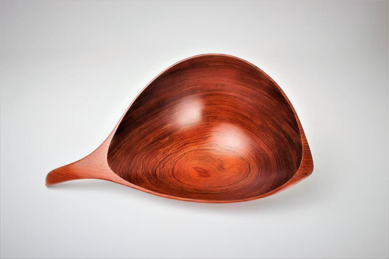 Emil Milan Large Handmade Decorative Bowl in African Rosewood, 1970s 5