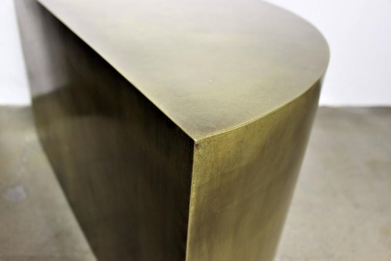Contemporary Solid Brass Geometric Demilune Side Tables with Heavy Patina, a pair For Sale