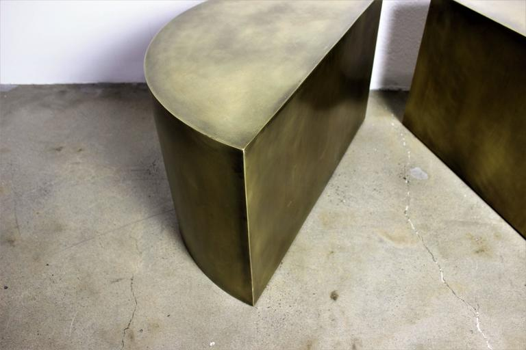 Metal Solid Brass Geometric Demilune Side Tables with Heavy Patina, a pair For Sale