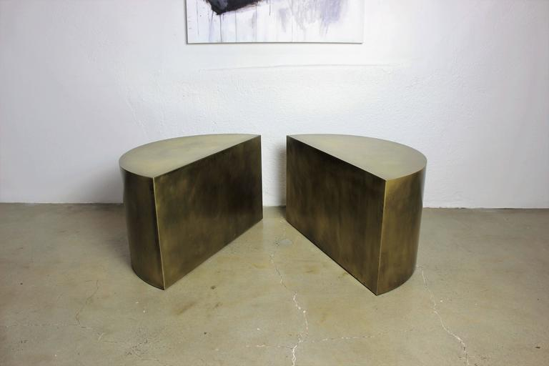 Solid Brass Geometric Demilune Side Tables with Heavy Patina, a pair For Sale 1