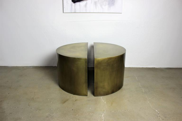 Hollywood Regency Solid Brass Geometric Demilune Side Tables with Heavy Patina, a pair For Sale