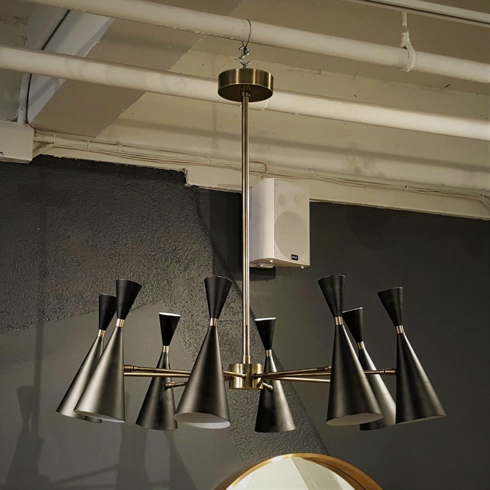 Petite Monolith Italian Modern Brass Chandelier By Blueprint Lighting, 2017