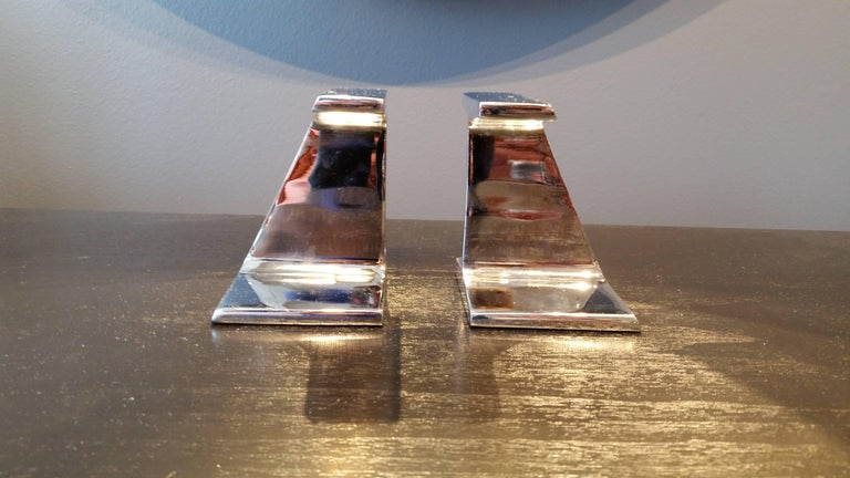 Late 20th Century Stunning Chrome-Plated Steel Railroad Tie Bookends, 1970s For Sale