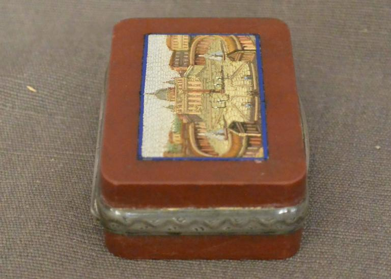 19th Century Micromosaic Snuff Box with View of St. Peter's For Sale