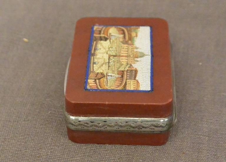 Italian Micromosaic Snuff Box with View of St. Peter's For Sale