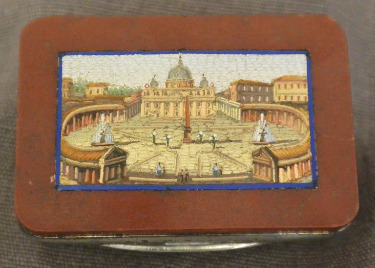 Micromosaic Snuff Box with View of St. Peter's For Sale 1