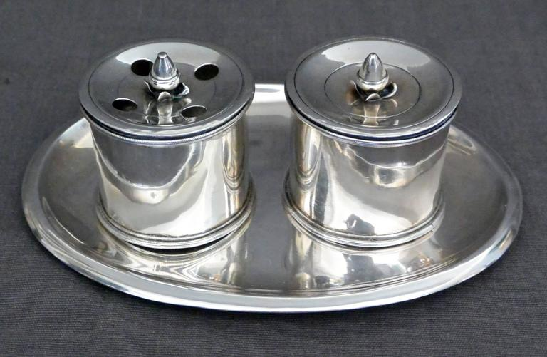 Italian Empire Silver Inkstand In Excellent Condition For Sale In New York, NY