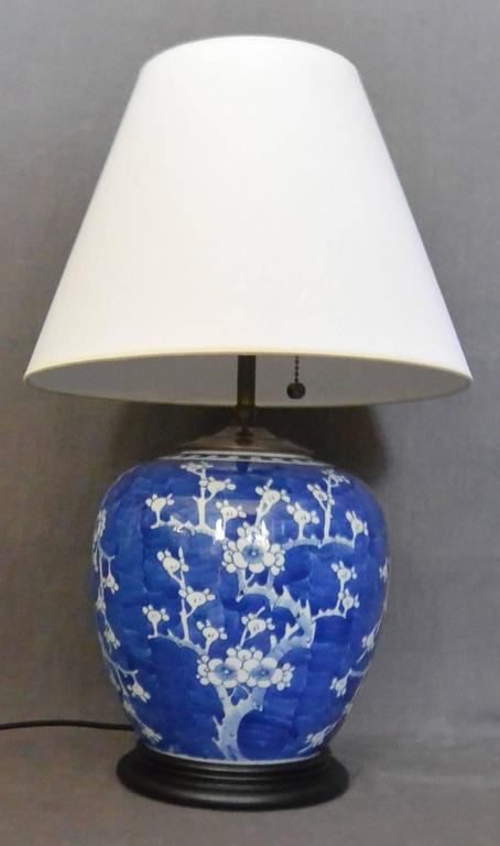 Blue and White Cherry Blossom Lamp For Sale at 1stdibs