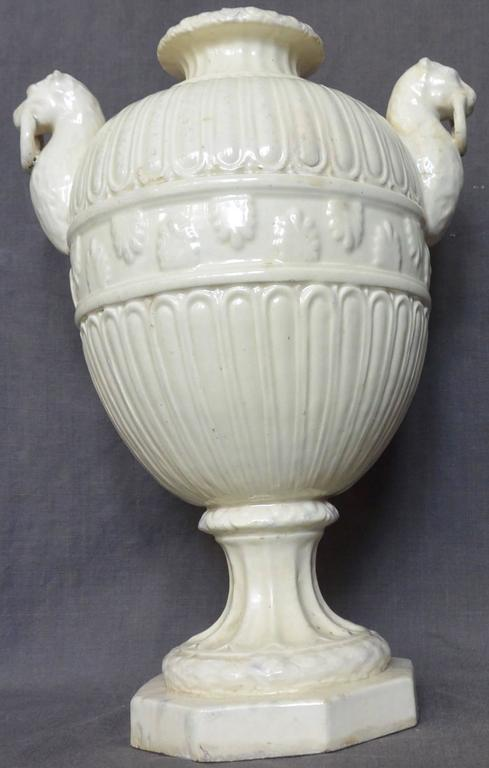 Italian Neoclassical White Pottery Urn With Panther