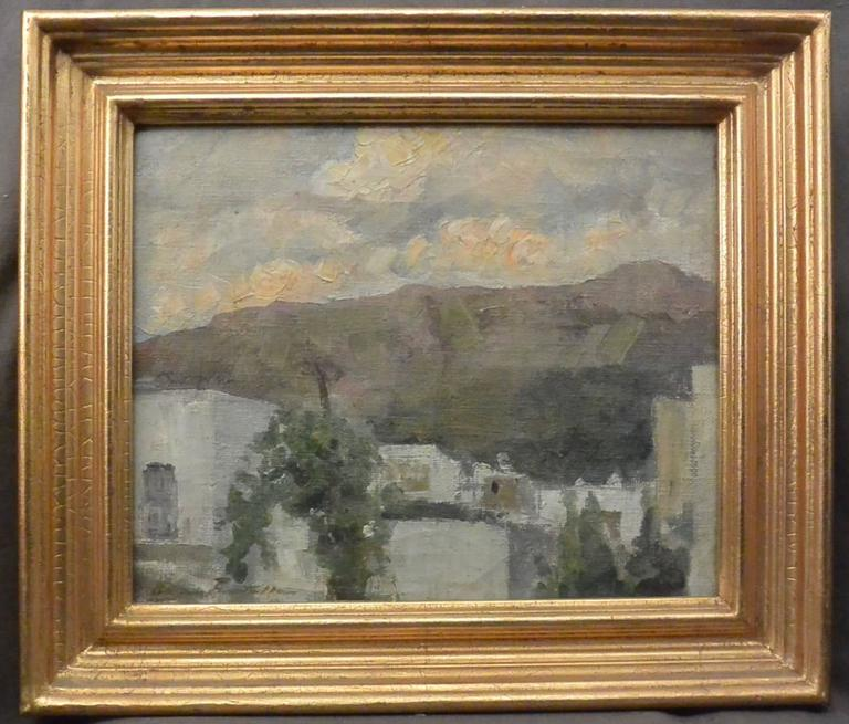 Ada Pratella (1901-1929) Houses at Capri, oil on canvas in gold frame, signed lower left. Italy, circa 1920