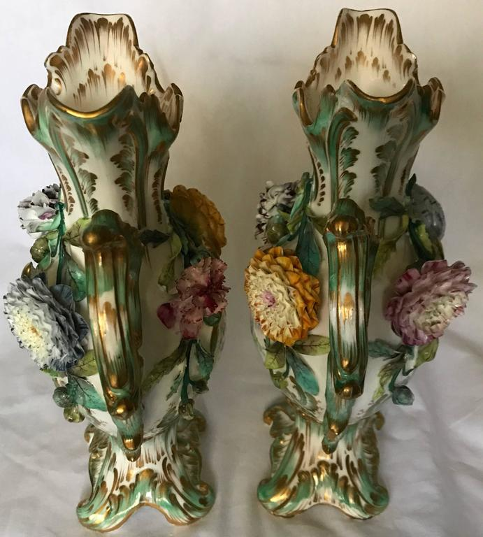 19th Century Pair Green and Gilt Painted Rockingham Vases For Sale