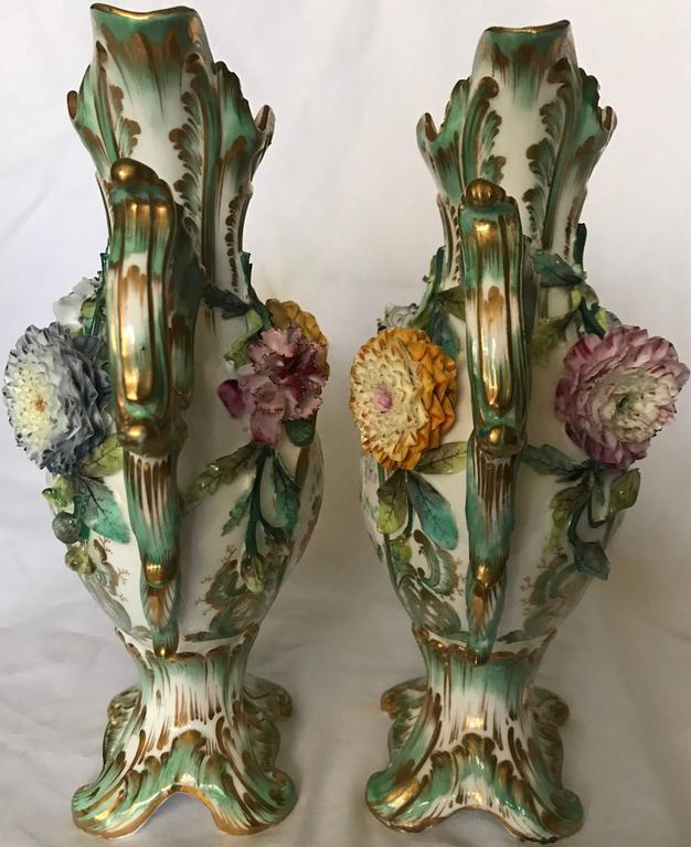 Pair Green and Gilt Painted Rockingham Vases In Good Condition For Sale In New York, NY