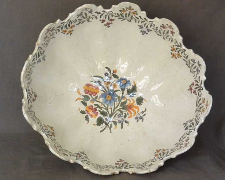 Very Large Bassano Floral Centerpiece Bowl In Good Condition In New York, NY