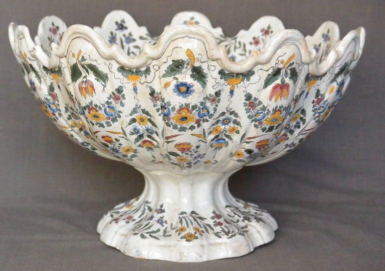 Ceramic Very Large Bassano Floral Centerpiece Bowl