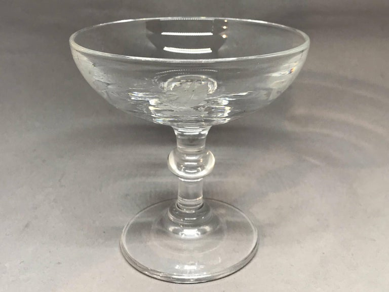 American Vintage Etched Crystal Steuben Champagne Coupe For Sale