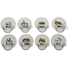 Set of Eight Audubon Bird Tea Cups and Saucers