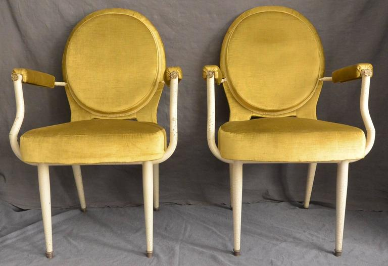 Pair Italian Mid-Century Louis XVI Style Armchairs In Excellent Condition For Sale In New York, NY