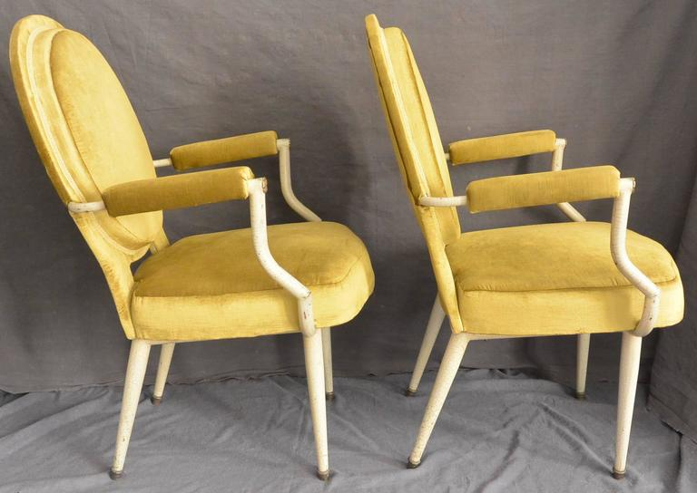 Metal  Pair Italian Mid-Century Louis XVI Style Armchairs For Sale