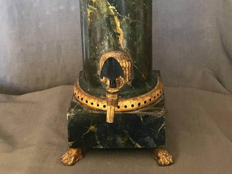 19th Century Neoclassical Green and Gilt Faux Marble Samovar Coffee Urn For Sale