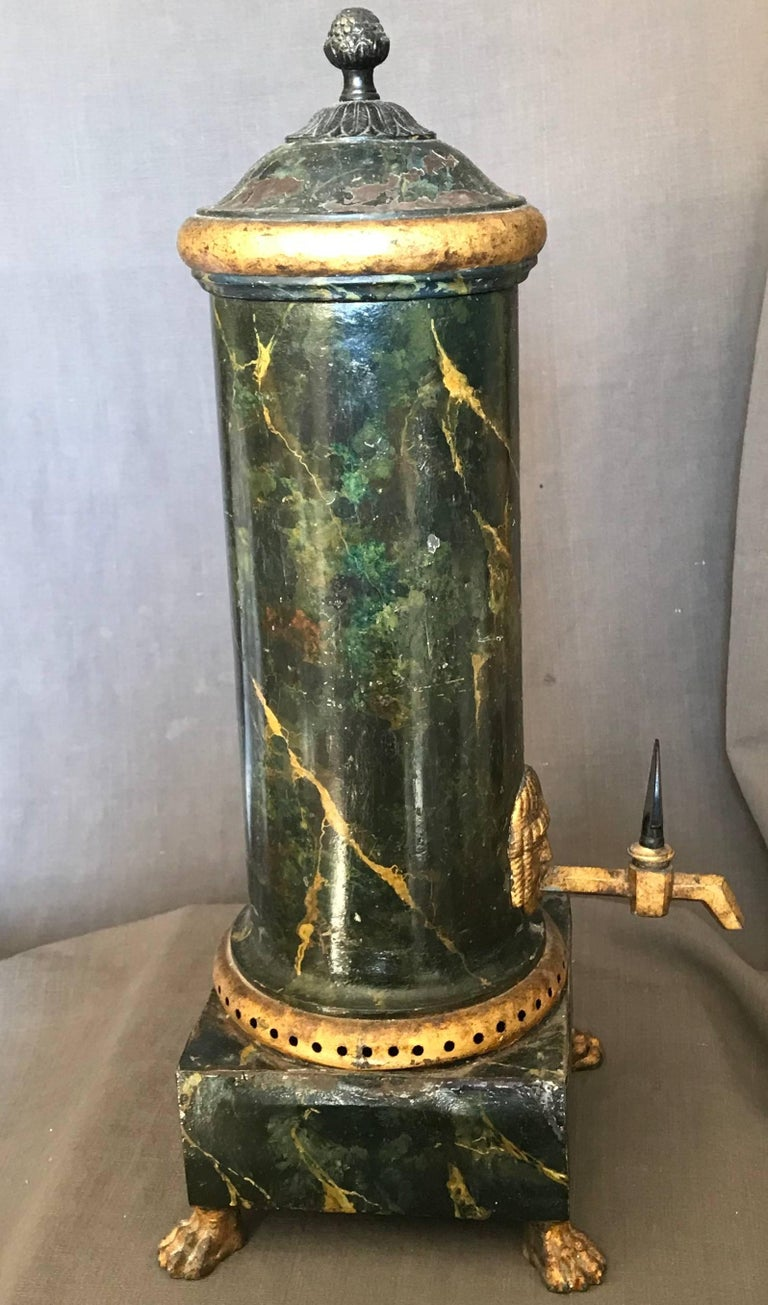 Italian Neoclassical Green and Gilt Faux Marble Samovar Coffee Urn For Sale