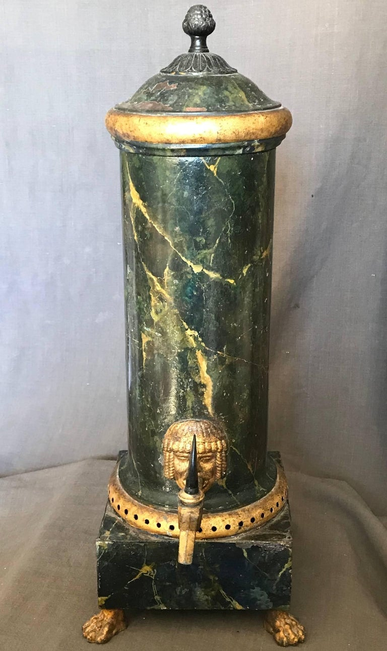 Empire Neoclassical Green and Gilt Faux Marble Samovar Coffee Urn For Sale