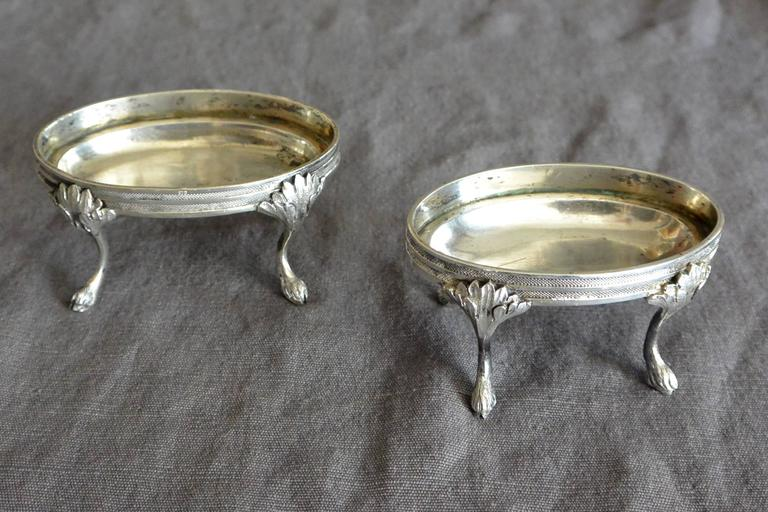 Pair of Austrian Silver Oval Salts  In Excellent Condition For Sale In New York, NY