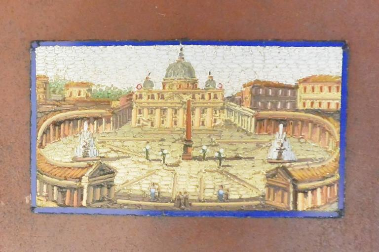 """Antique silver mounted hardstone snuff box with micromosaic view of St. Peter's Cathedral, Rome. Italy, early 19th century.  Dimension: 2.4"""" W x 1.2"""" D x .75"""" H."""