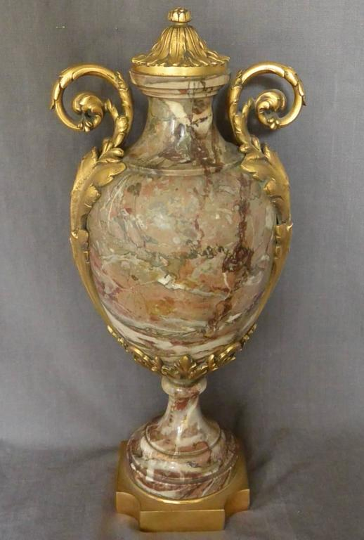 European Continental Ormolu-Mounted Marble Urn For Sale