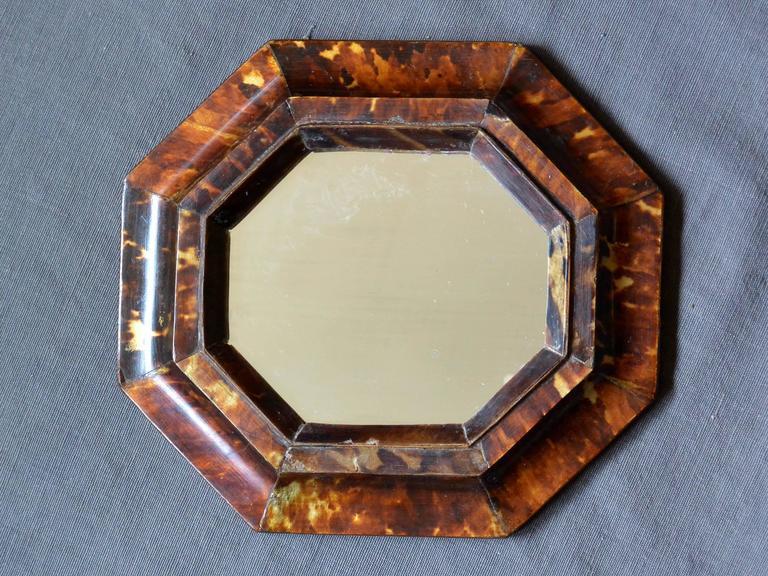 Italian Small Antique Sicilian Tortoiseshell Framed Mirror For Sale