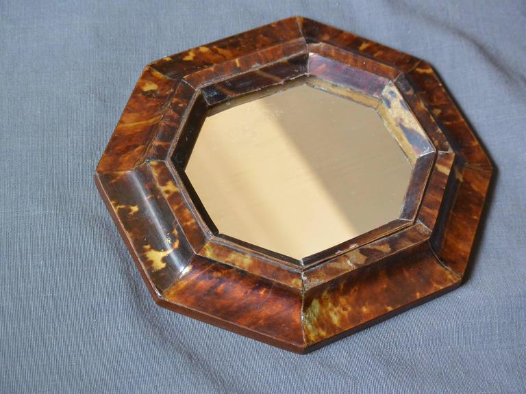 """Small antique Sicilian octagonal tortoiseshell framed mirror with later antique mirror plate, Italy, circa 1860. Dimensions: 6.88"""" W x 7.5"""" H x .88"""" D."""
