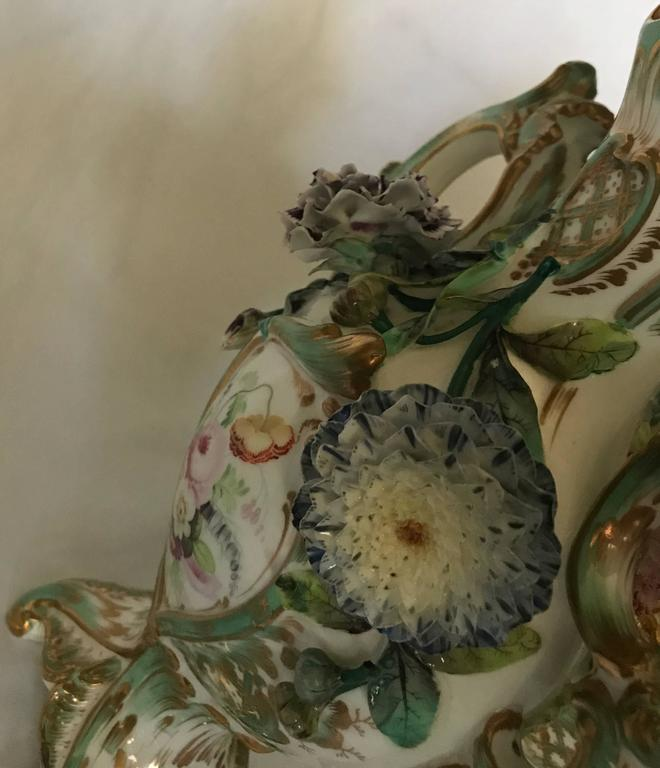 Pair Green and Gilt Painted Rockingham Vases For Sale 3
