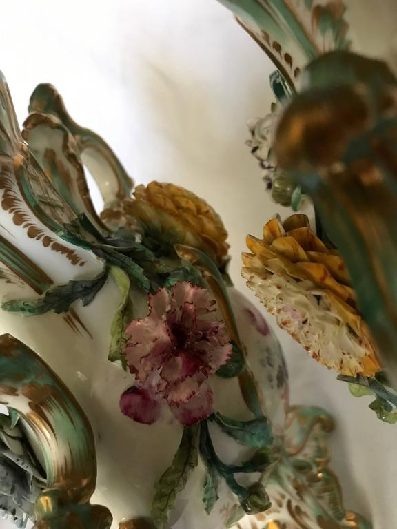 Pair Green and Gilt Painted Rockingham Vases For Sale 4