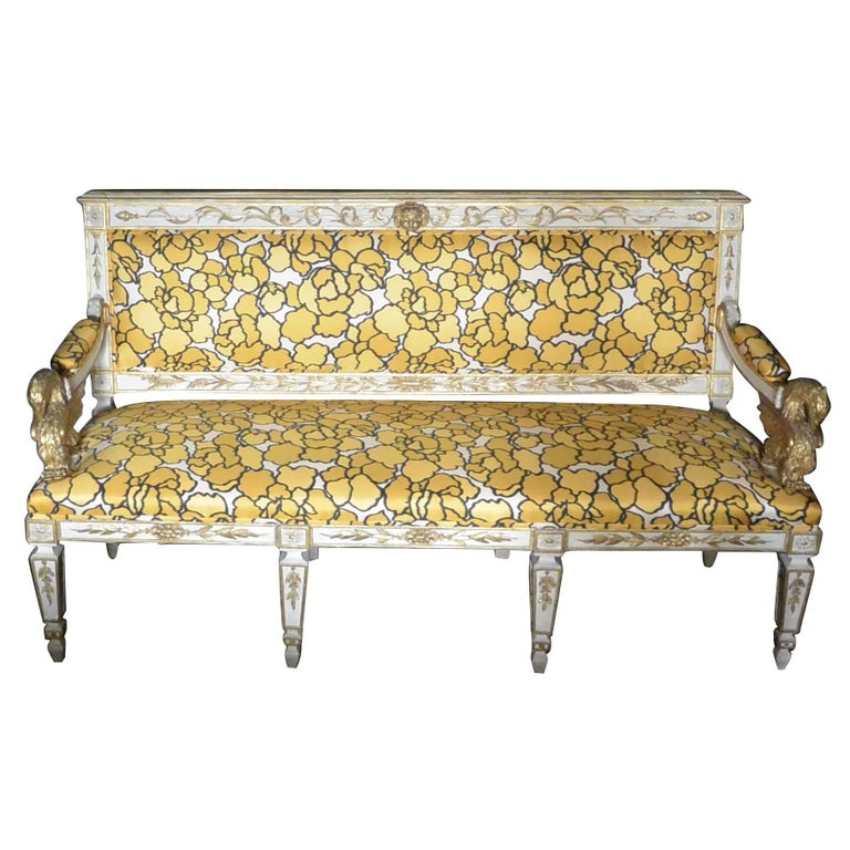 Italian Neoclassical Eagle Settee with Marc Jacobs Silk Floral Upholstery