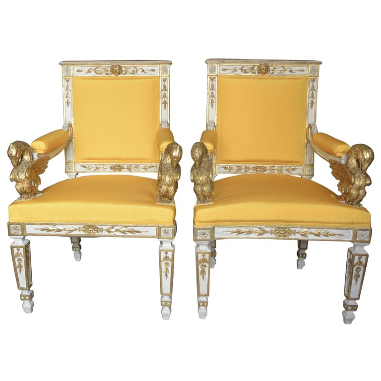 Pair of Italian Neoclassical Eagle Armchairs in Yellow Silk Taffeta