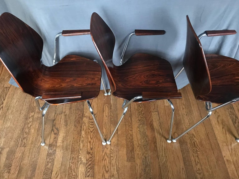 Chrome Midcentury Danish Rosewood Chair For Sale