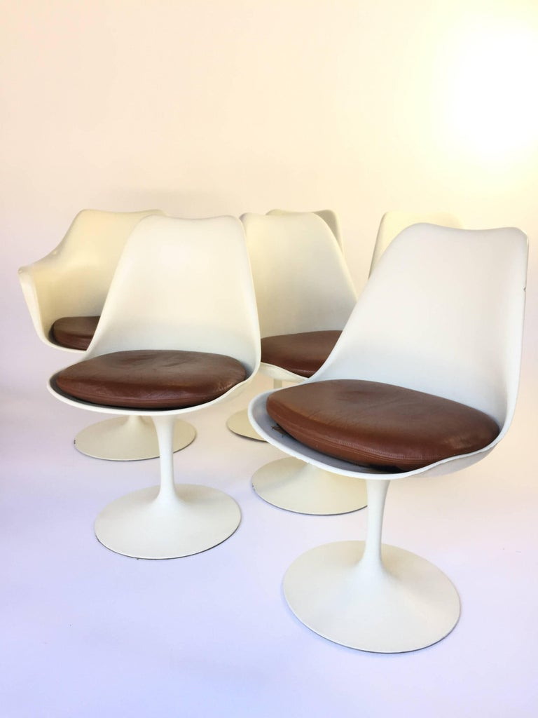 Eero saarinen lather tulip chairs set of six for sale at 1stdibs - Tulip chairs for sale ...