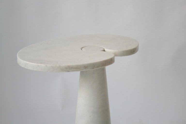 Mid-Century Modern Angelo Mangiarotti Tall Italian Side Table Eros Series White Carrara Marble For Sale