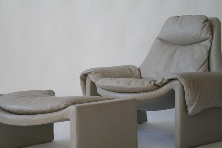 Stainless Steel P-60 Saporiti Lounge Chair and Ottoman by Vittorio Introini For Sale