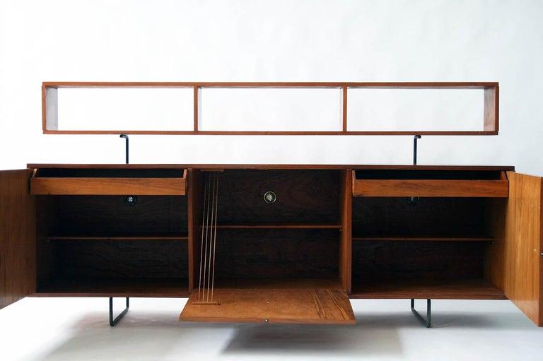 Mid-Century Modern Joaquim Tenreiro 1954 Jacaranda Wood and Steel Credenza For Sale