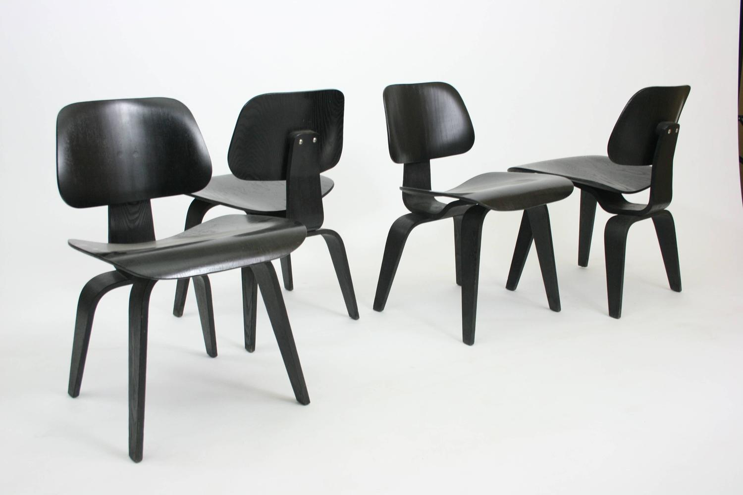 Set of Four Early DCW Chairs by Eames for Evans Products ...