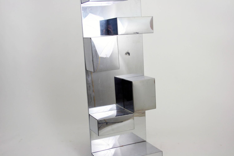 1970s Geometric Polished Metal Wall Sculpture Shelf