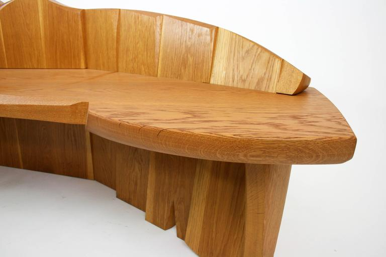 American Nico Yektai Studio-Made Sculptural White Oak Bench Signed and Dated by Artist For Sale