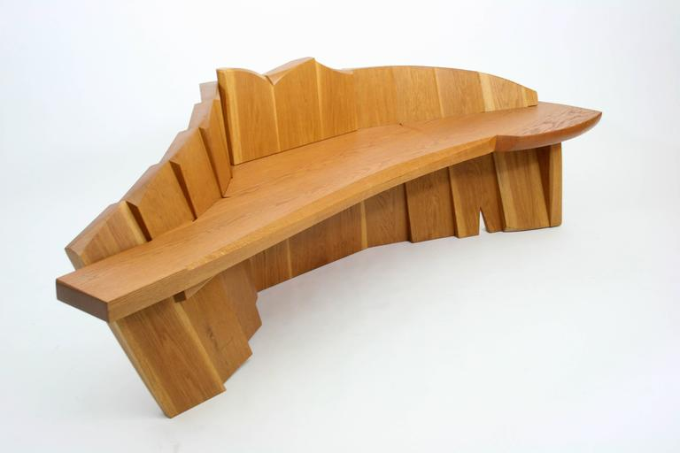 Organic Modern Nico Yektai Studio-Made Sculptural White Oak Bench Signed and Dated by Artist For Sale