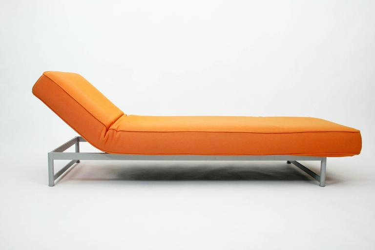 piero lissoni reef bench chaise longue in orange felt for