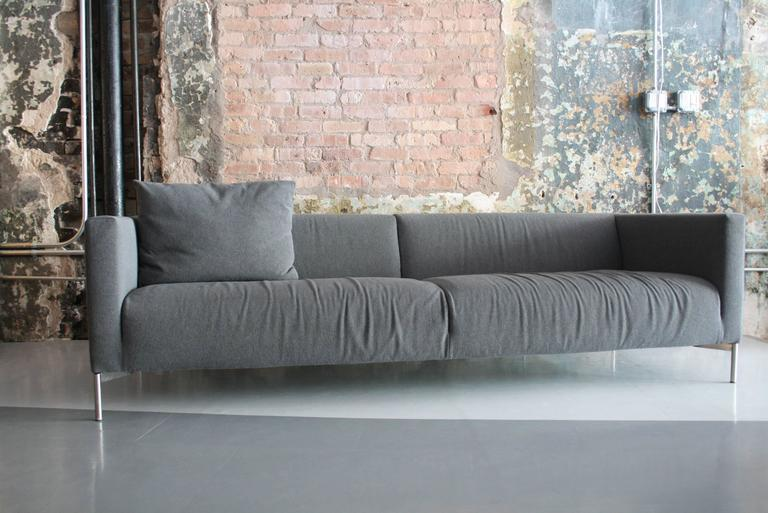 Piero Lissoni Twin Sofa For Living Divani Italy In Gray Maharam Wool Upholstery The